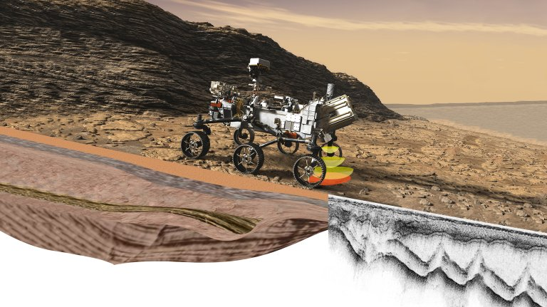 Illustrasjon av Mars-roveren «Perseverance» som kjører rundt på Mars